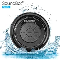 soundbot SB517-BLK/BLK SoundBot SB517 Extreme Bluetooth Wireless Speaker Handsfree Portable Speakerphone w/ Military Grade Level 7 Total Waterproof, 3W Speaker Output, 6 hrs Playback time, Built-In Rechargeable Battery, Dust-proof, Built-in Mic, Control Buttons, Detachable Suction Cup for Pool, Boat, Car, Beach, Bathroom, Bedroom, Kitchen, Indoor & Outdoor Use (BLACK/BLACK)