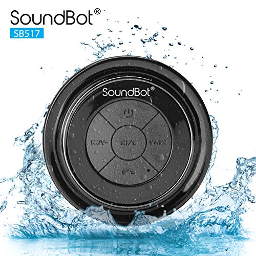 soundbot SB517-BLK/BLK SoundBot SB517 Extreme Bluetooth Wireless Speaker Handsfree Portable Speakerphone w/ Military Grade Level 7 Total Waterproof, 3W Speaker Output, 6 hrs Playback time, Built-In Rechargeable Battery, Dust-proof, Built-in Mic, Control Buttons, Detachable Suction Cup for Pool, Boat, Car, (Ultimate Six Speaker)