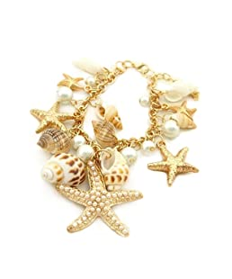 Pulsera - SODIAL(R)Estilo del oceano Multi estrellas de mar Estrella de mar Caracola marina Concha Perlas Collar Pulsera Pendiente Dorado