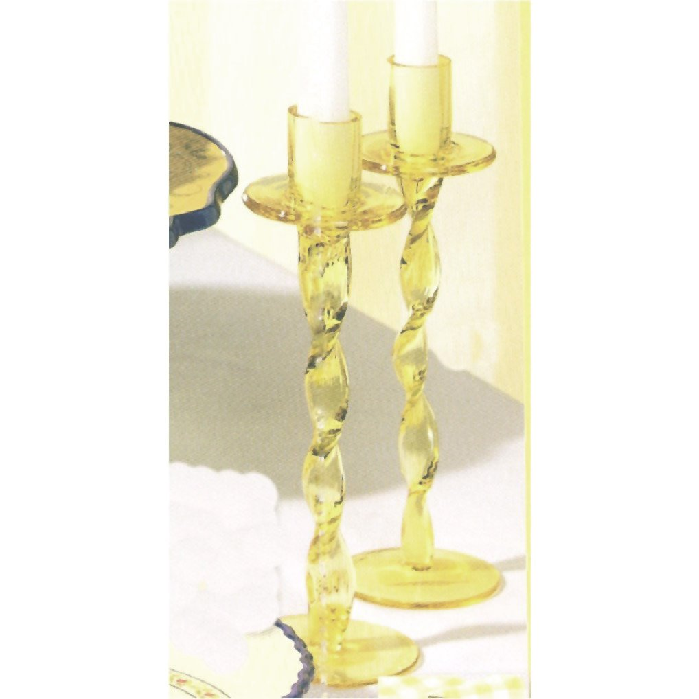 Grasslands Road Avignon Yellow Glass Candle Holder Set with 2 Tapers