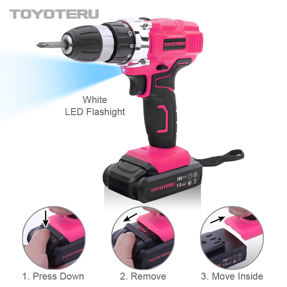 TOYOTERU Powerful 18 Volt Lithium-Ion Cordless Drill Driver Kit Pink Tool for Women- 33PCS Drill Accessory, 2 Gears,1500mAh Battery & Charger in Blow Mold Case by TOYOTERU (Image #2)