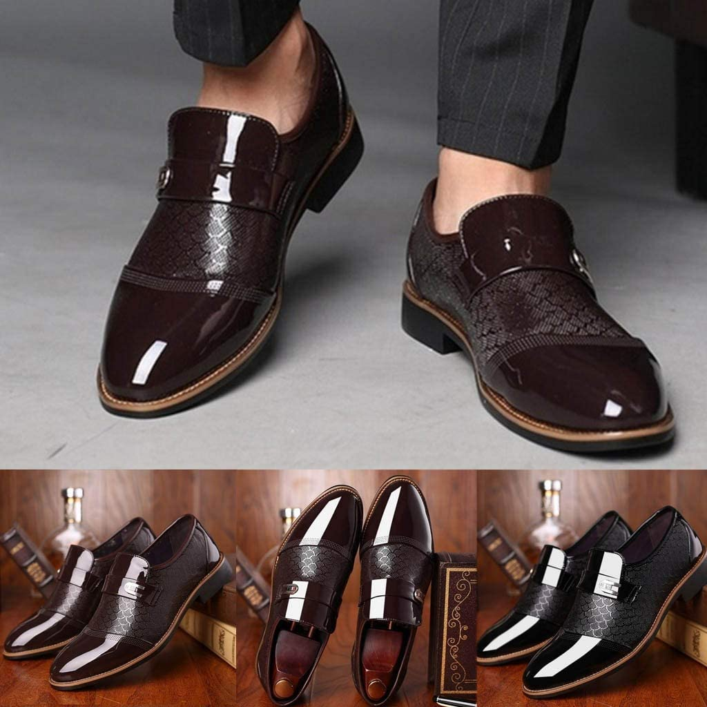 Gobling Men Oxfords Pointed-toe Lace up Business Shoes for Formal Wedding Dress Shoes