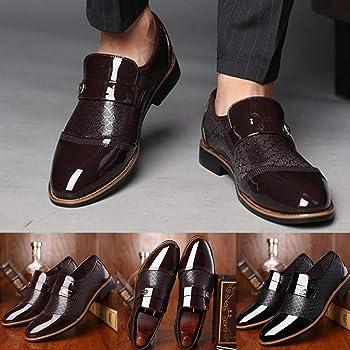JiaMeng Mocasines de Cuero para Hombres Zapatos de Cuero de ...