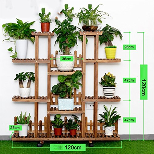 AIDELAI Solid Wood Simple Pastoral Flower Racks Living Room Balcony Decoration Multiple Layers Shelf Flower Pot Rack Patio Garden Pergolas ( Color : #6 ) by AIDELAI