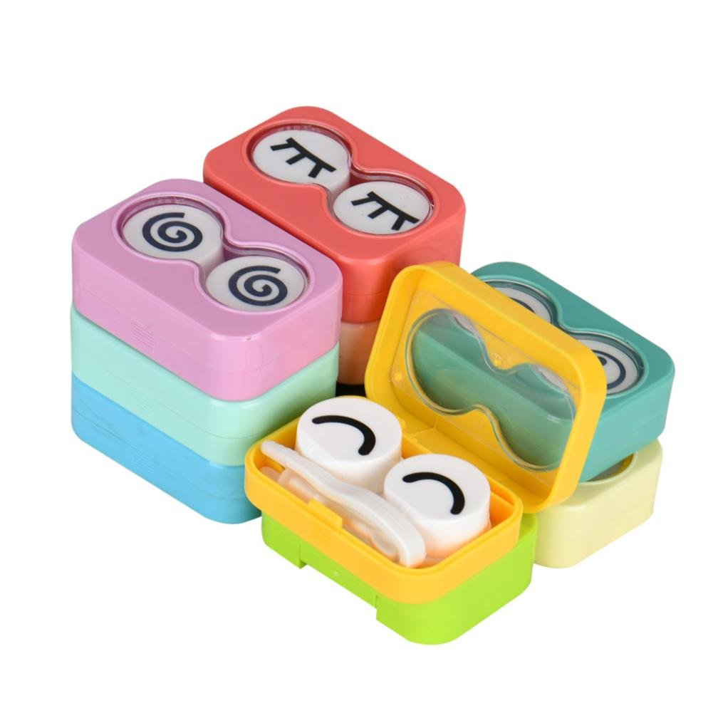 Hot Sale! AMA(TM) Portable Cute Mini Contact Lens Case Pocket Storage Holder Box Travel Kit Easy Carry Mirror Container (Random) Amaping