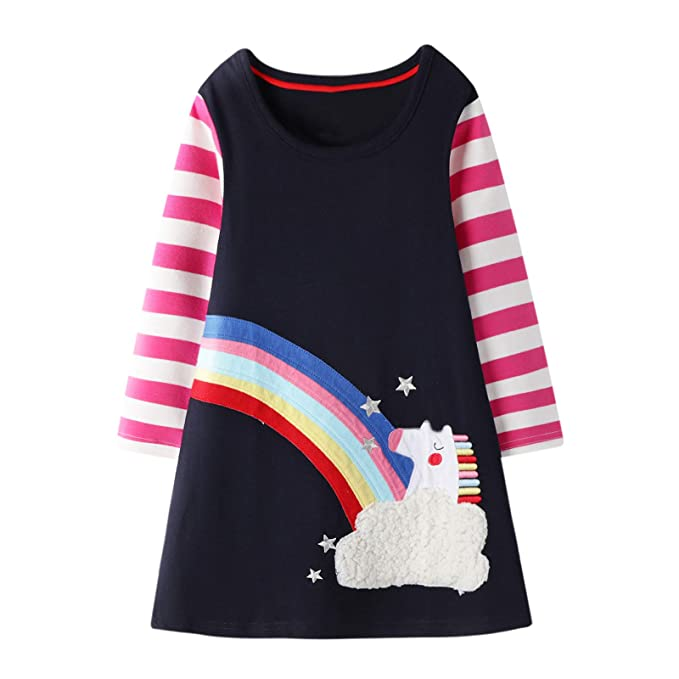 VIKITA - Camiseta de algodón para niña, Manga Larga, diseño de ...