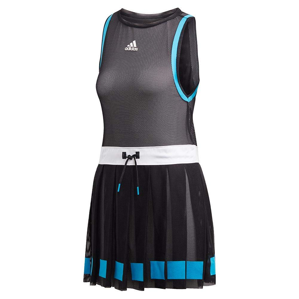 adidas Escouade Tennis Dress, Black/White (Small)