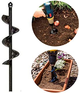 "Durable Auger Drill Bit - Garden Auger Spiral Drill Bit - Post Hole Digger Drill Bit for Tulips, Iris, Bedding Plants and Digging Weeds Roots - Non-Slip 3.5"" x 10 "" HEX Shaft Auger (3.5"" x 10 "")"