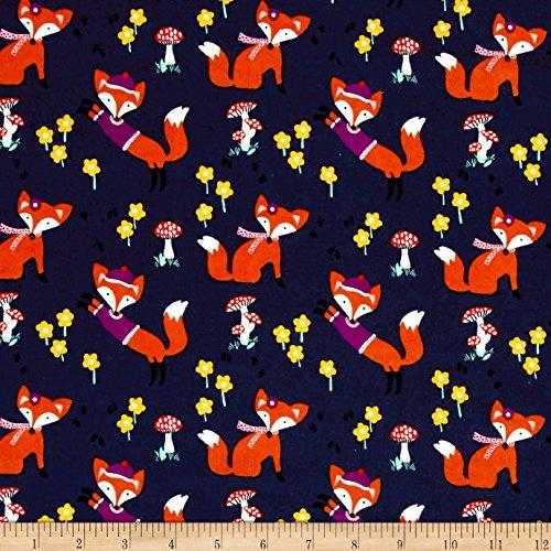 el Lil' Foxy Navy Fabric By The Yard (Michael Miller Flannel Fabric)