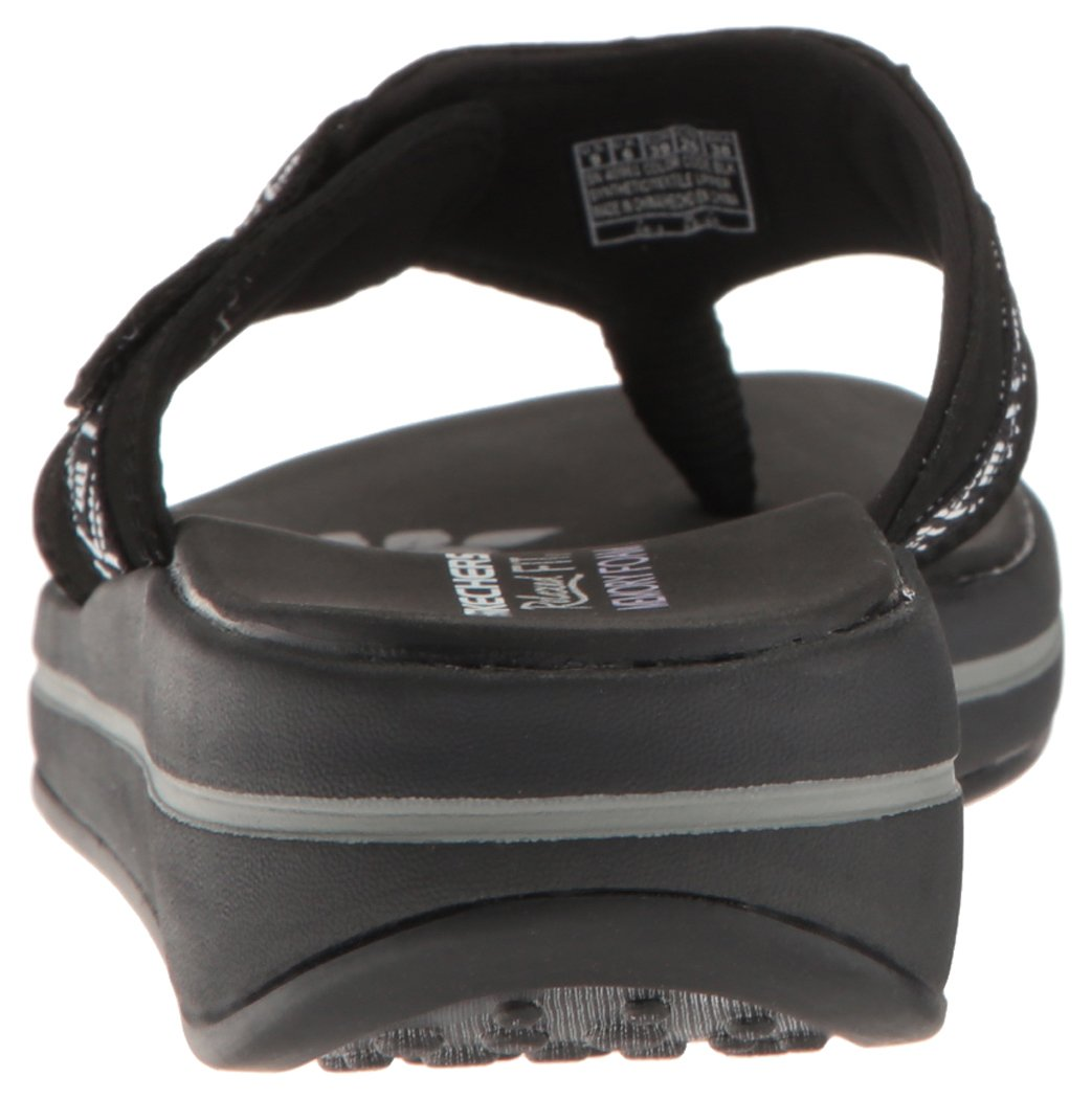 Skechers Modern Comfort Sandals Women's Upgrades Marina Bay Flip Flop Black/White, 8 M US by Skechers (Image #2)