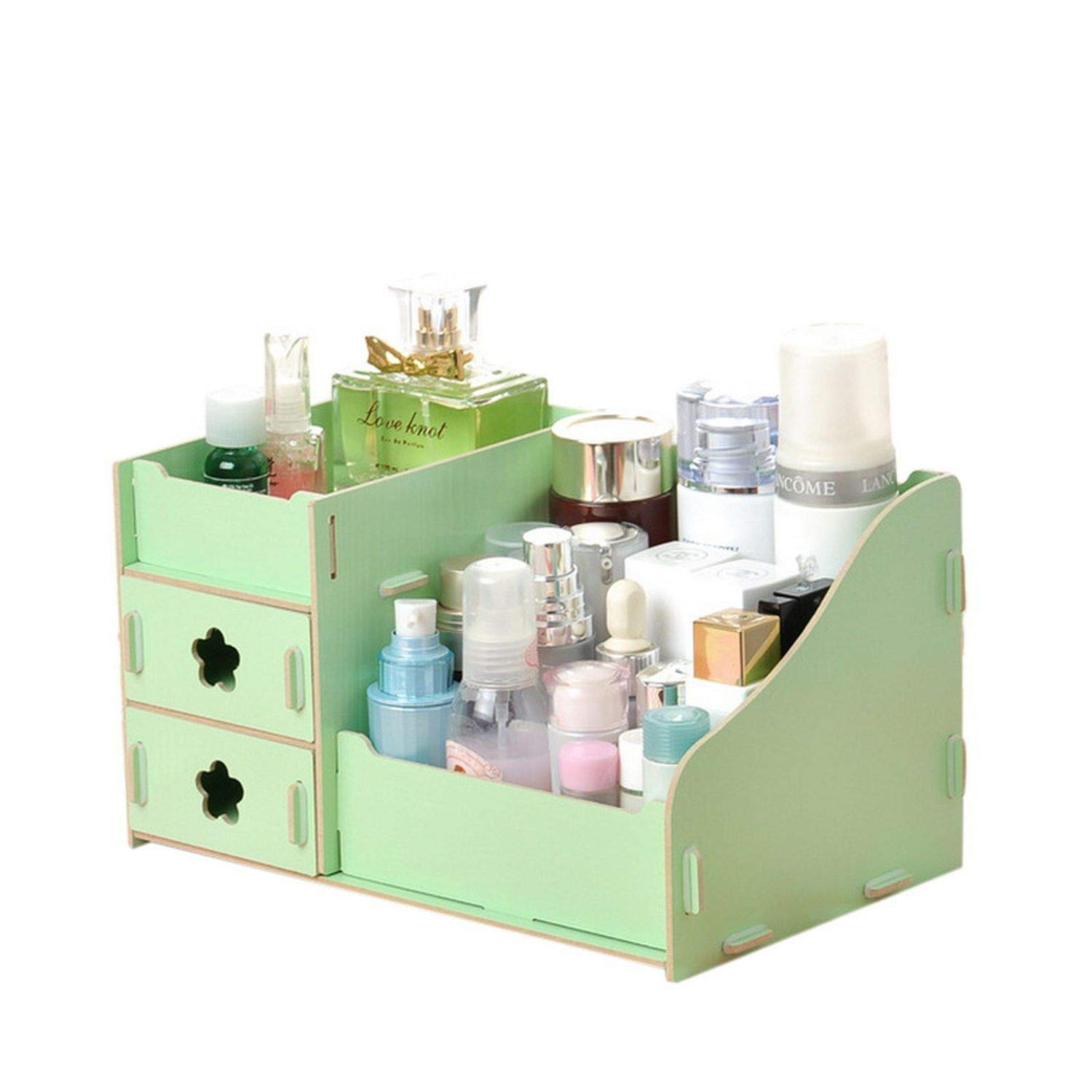 Collocation-Online Wooden Cosmetic Storage Boxes Small Drawer Jewelry Box Desktop Sundries Handmade DIY Makeup,Flower A by Collocation-Online (Image #6)