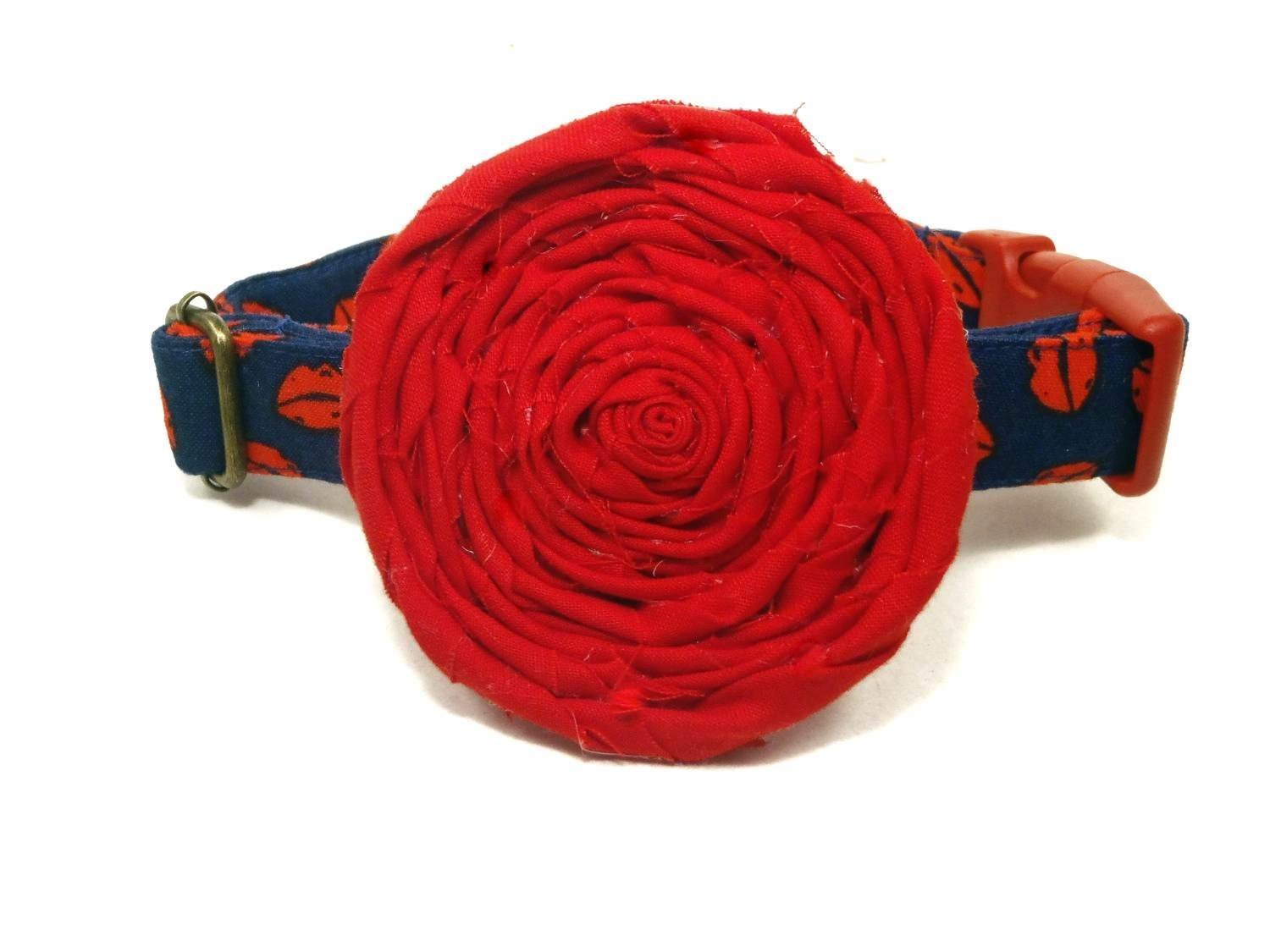 1\ Besame with Flower Navy bluee Red Lips Kisses Kiss Girly Valentine Organic Cotton Pet Collar Handmade in the USA (1  Large Dog)
