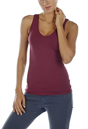 e9088b0f89 Last Tango Basic Seamless V-Neck Tank to Wear IT Underneat Other Tops -  Bordeaux