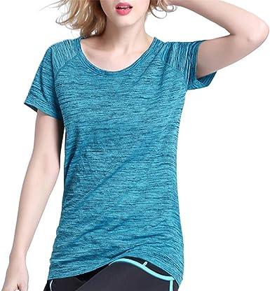 LUNULE VENMO Camisetas Deporte Mujer, Camisetas Mujer Manga Corta Yoga Camiseta Deporte Tops Deportivos sólidos Ropa Deportiva de Verano Camisetas Basica Mujer: Amazon.es: Ropa y accesorios