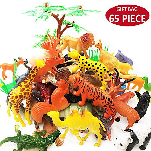 OuMuaMua 65 Pieces Animal Figures Toy Set - Plastic Mini Educational Jungle Animal Toys for Boys Girls Kids Toddlers Farm Small Animals. Includes 44 Mini Animal Figures,16 Fences, 4 Grass and 1 Trees