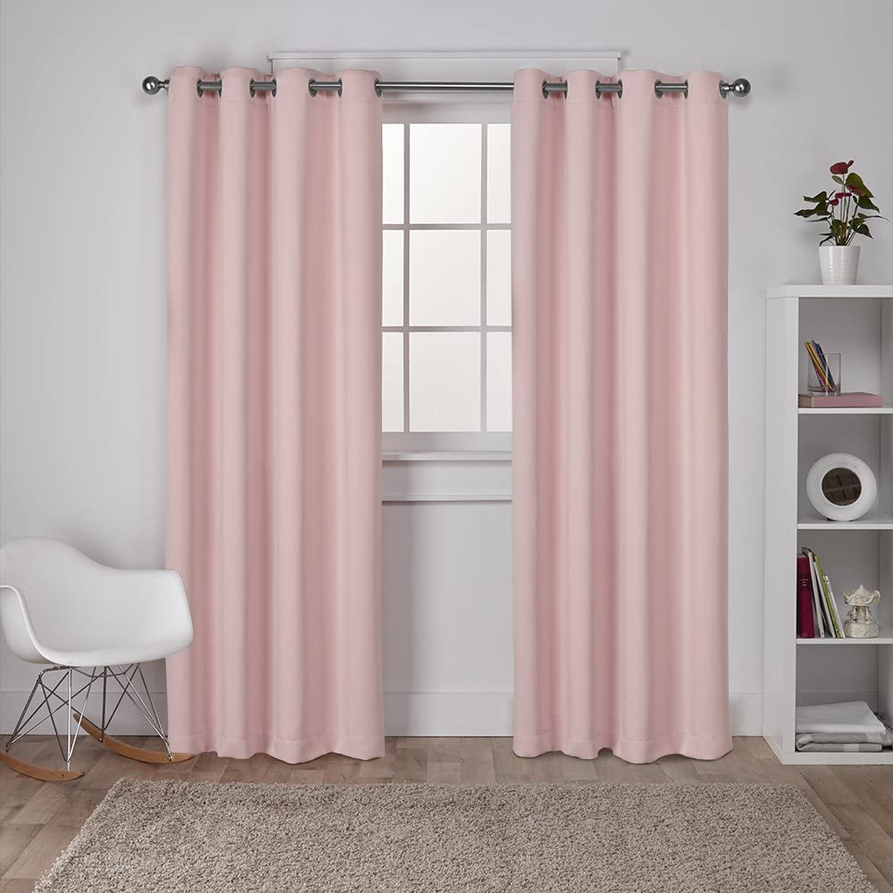 Exclusive Home Curtains Sateen Twill Woven Blackout Grommet Top Curtain Panel Pair, 52x108, Blush, 2 Piece