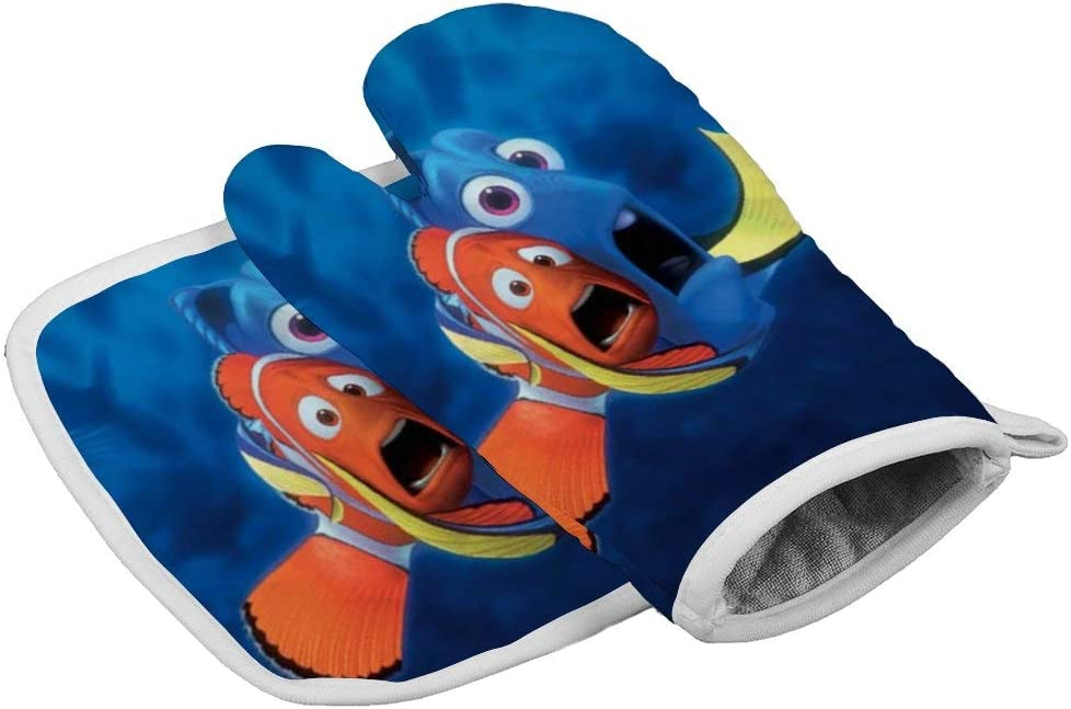 July-Seven Fish Dory and Marlin Oven Mitts,Professional Heat Resistant Microwave BBQ Oven Insulation Thickening Cotton Gloves Baking Pot Mitts with Soft Inner Lining