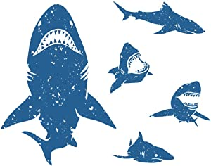 DIY 5D Diamond Painting Kits Blue Mouth Big Sharks Bite Silhouette Great White Full Drill Painting Arts Craft Canvas for Home Wall Decor Full Drill Cross Stitch Giftt 12X16 Inch