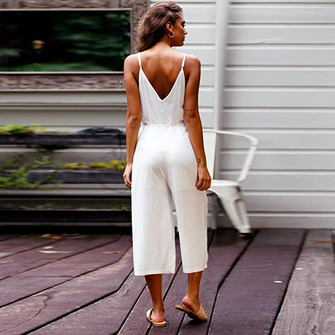 baec03a43754 Amazon.com  Makaor Fashion Women Strappy V Neck Backless Strap Cotton Linen  Playsuit Party Jumpsuit (White