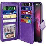 NEXTKIN Moto Z2 Force 2017 Case, Leather Dual Wallet Folio TPU Cover, 2 Large Pockets Double flap Privacy, Multi Card Slots Snap Button Strap For Motorola Moto Z2 Force 2nd Gen 2017 - Purple