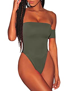 2f277f53a56e5 Ybenlow Womens Off Shoulder One Piece Swimsuits Tummy Control Lace Up High  Cut Monokini Bathing Suit