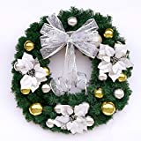 Christmas Garland for Stairs fireplaces Christmas Garland Decoration Xmas Festive Wreath Garland with Christmas wreath and rattan ring,60cm