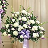 PlantShed - Heartfelt Sympathies Lavender Standing Basket - Flower Hand Delivery in NYC Local Manhattan Florist