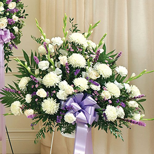 PlantShed - Heartfelt Sympathies Lavender Standing Basket - Flower Hand Delivery in NYC Local Manhattan (Funeral Wreath)