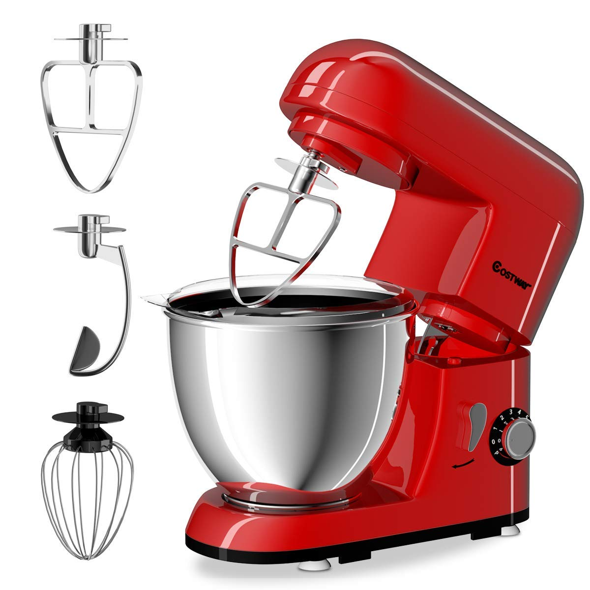 COSTWAY Stand Mixer 4.3 Quart 6-Speed 120V/550W Kitchenaid 3 Attachments Offer Tilt-head Electric Food Mixer w/Stainless Steel Bowl (Red) by COSTWAY