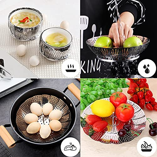 """61gd1oe7fVS. AC Steamer Basket, Stainless Steel Expandable Steamer Basket for Veggie/Seafood Cooking/Boiled Eggs-Folding Steamers to Fits Various Size Pot (6.1"""" to 10.6"""")    Product Description"""
