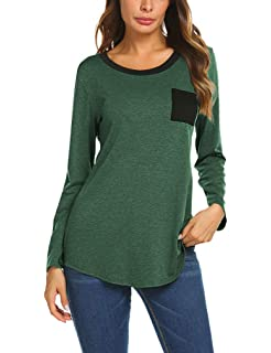 fc7a2e745c0 Qearal Women's Fall Basic Long Sleeve Tops Contrast Color Casual Loose T- Shirts with Pocket