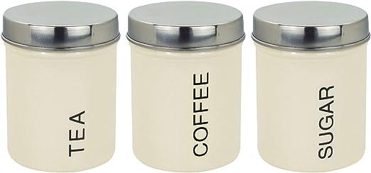 Set of 3 Canisters Tea Coffee Sugar Kitchen Pink Modern Storage Pots Jars New
