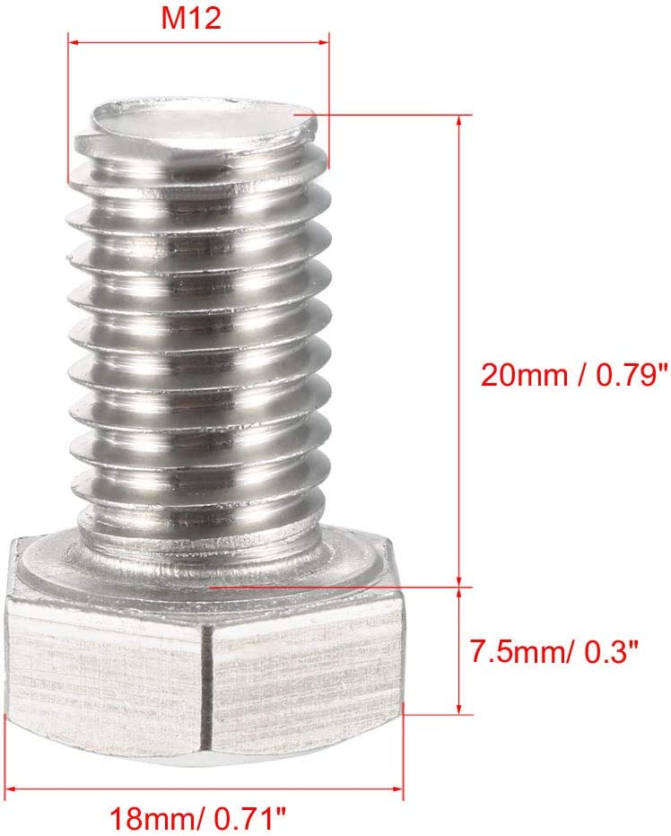 sourcing map M12 Thread 50mm 304 Stainless Steel Hex Screws Bolts 5pcs