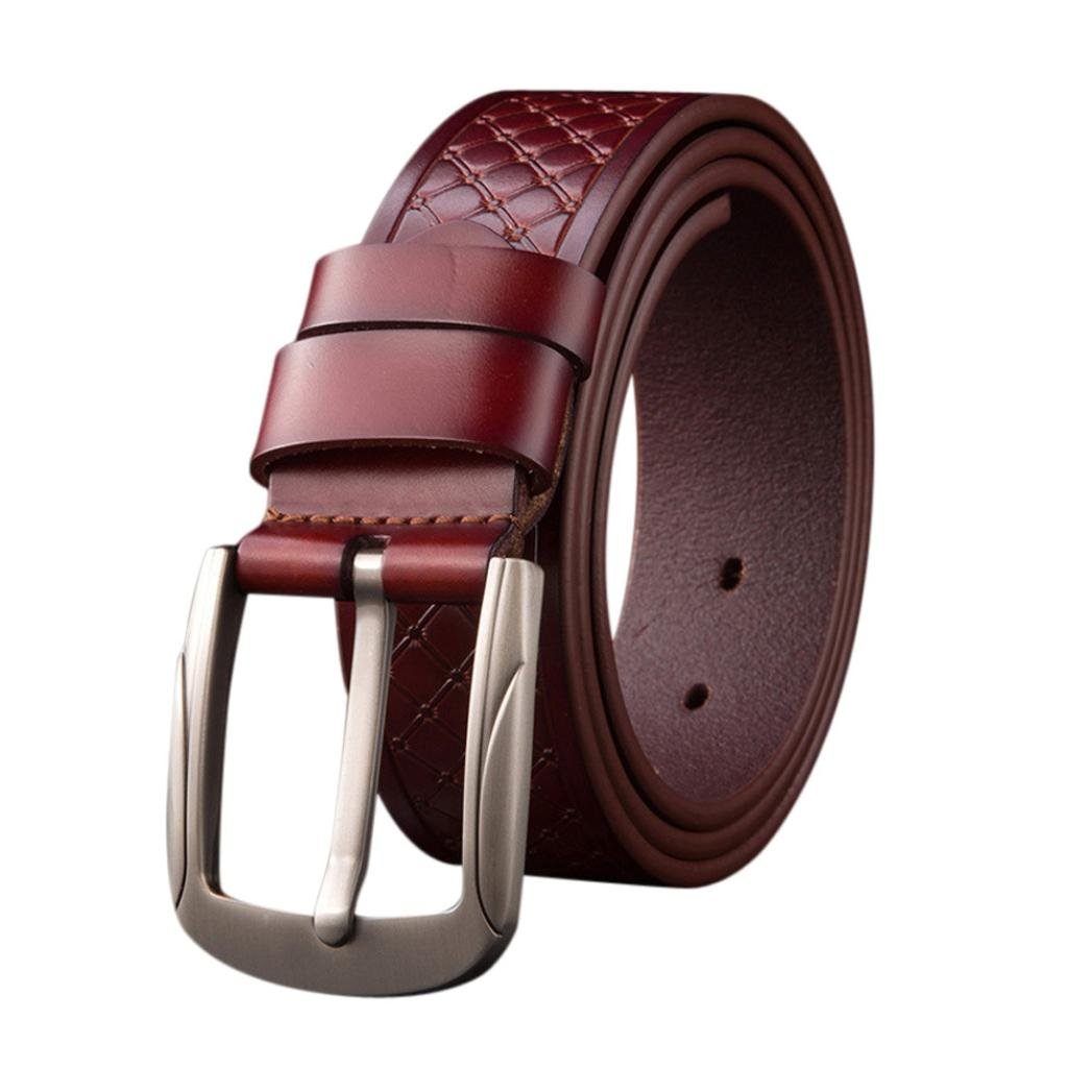 89LOOK-Belt Belt for Fashion Men's Vintage Accessories Casual Thin Leisure Leather Diamond Pattern No-Slip (Brown)