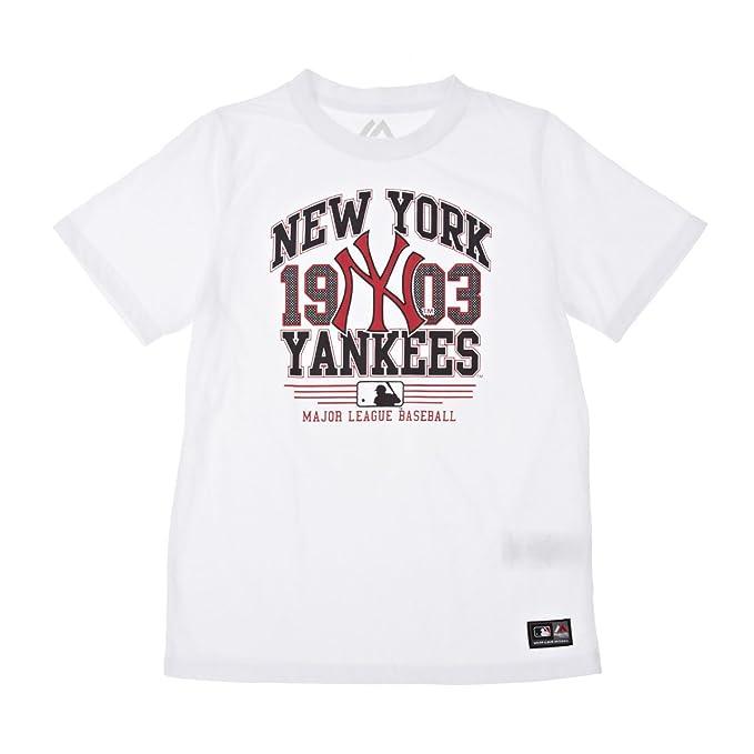 Majestic MAglietta degli Yankees MJ0035 Boy s bianco 15 anni  Amazon ... 2d2e791dc51f