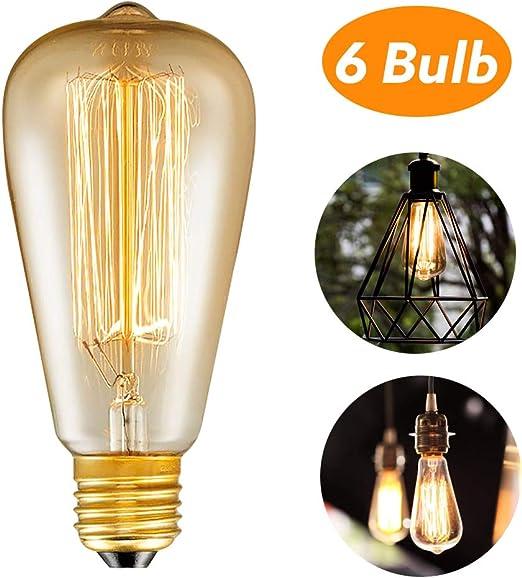 Edison Glühbirne E27,Woowtt Edison Vintage Glühbirne,6W LED Glühbirne,Dimmbar...