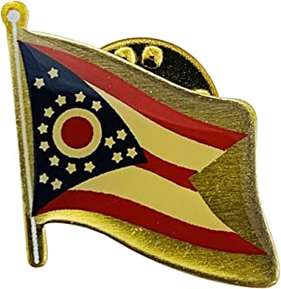 product image for Set of 24 Ohio Single Waving State Flag Lapel Pin - Made in The USA