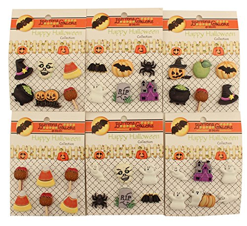 Buttons Galore Happy Halloween Buttons-Set of 6 Cards
