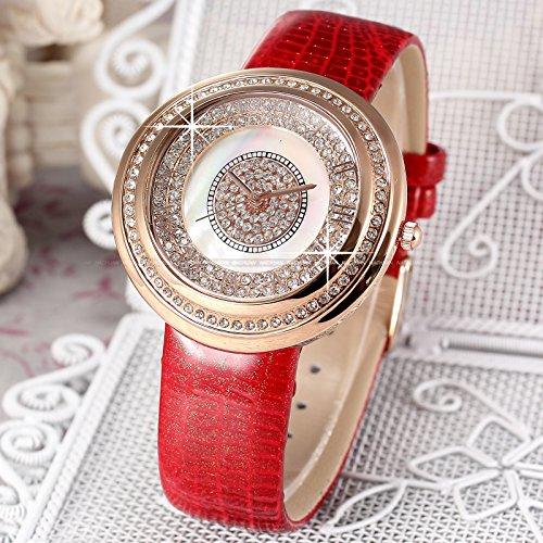 Fashion Bling Crystal MOP Lady Women Girl Bracelet Red Leather Quartz Wrist Watch WK1178