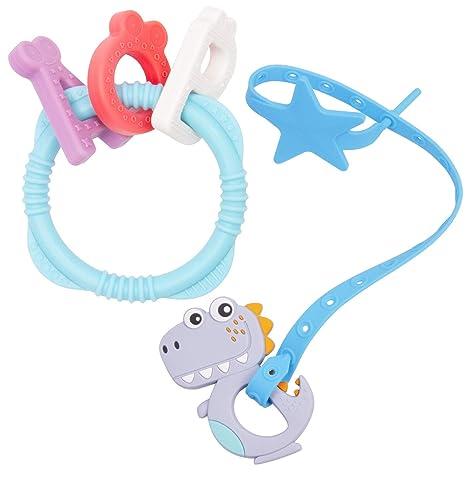 Qshare Juguetes para la dentición del bebé, silicona de grado alimenticio 100%, chupetes sin BPA para bebés recién nacidos, alivio del dolor para la ...
