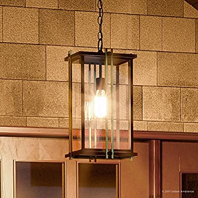 "Luxury Craftsman Outdoor Pendant Light, Large Size: 20""H x 10""W, with Craftsman Style Elements, Gold Trimmed Design, Elegant Estate Bronze Finish and Beveled Glass, UQL1074 by Urban Ambiance"