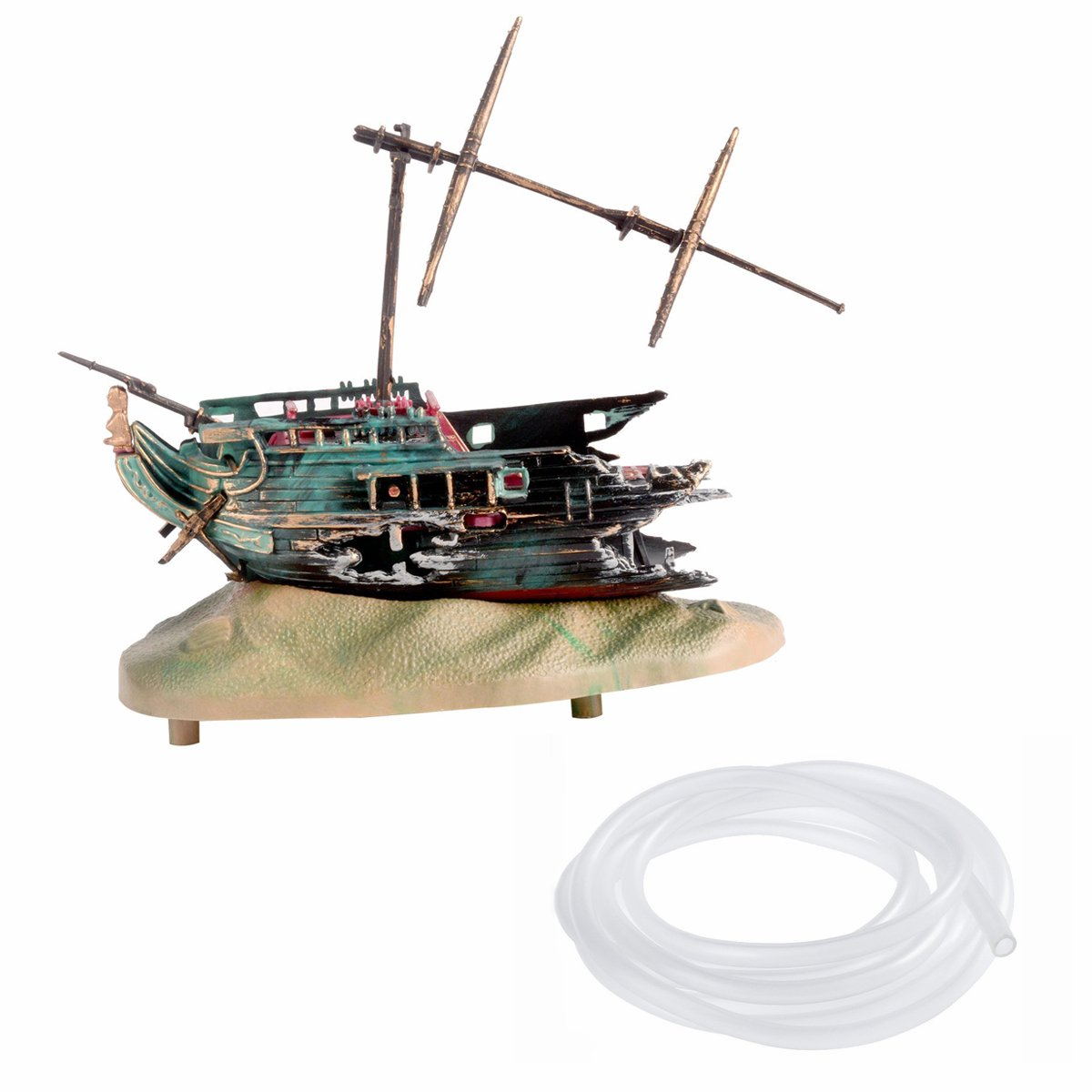 Green Saim Live-Action Half-Shipwreck Aerating Aquarium Ornaments (Green) with 10Ft Air Line(Clear)