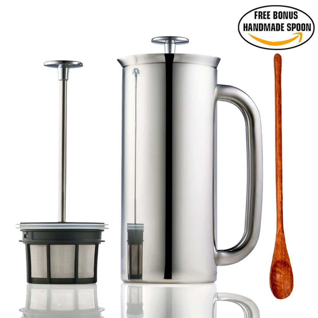 Espro Press Stainless Steel Coffee Press (6-8 cups, 32 oz) Bundle with Wooden Spoon, Double Wall, Vacuum Insulated, Polished