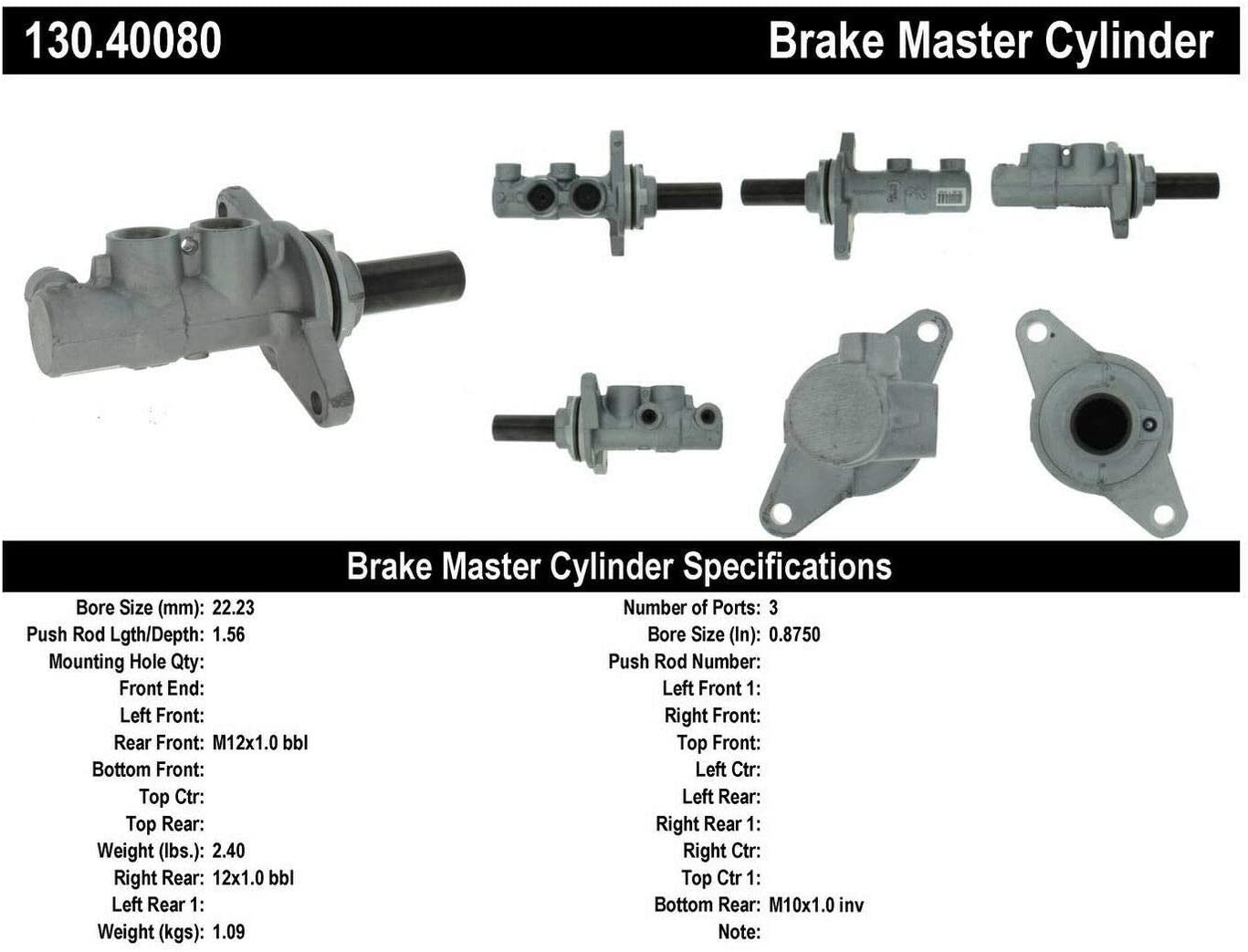 Centric 130.40080 Premium Brake Master Cyl
