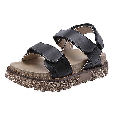 0d0f502d15f4 LINNUO Womens Velcro Sandals Wedge Heel Platform Faux Leather Strappy Flatform  Thick Bottom Slingback Summer Roman