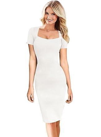 VfEmage Womens Sexy Elegant Square Neck Wear to Work Bodycon Pencil Dress  9521 WHT 14 38ba7e6c33f3
