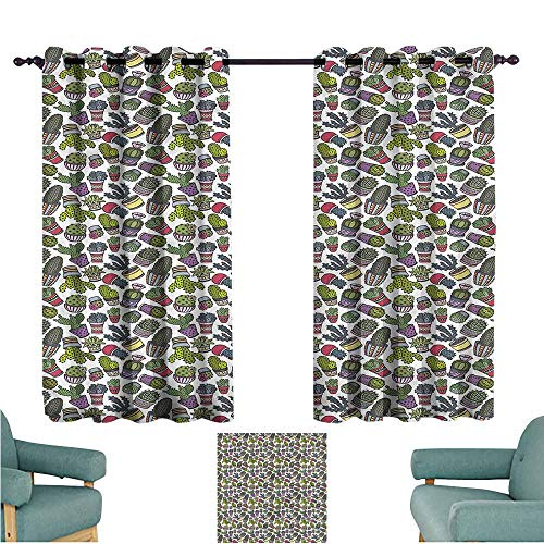 Agoza Grommet Curtains Cactus Latin American Pots Great for Living Rooms & Bedrooms W63x45L -