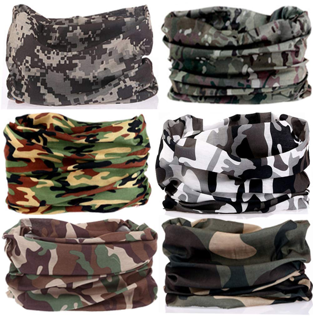 KALILY 6PCS Headband Bandana - Versatile Sports CAMO Headwear –Multifunctional Seamless Neck Gaiter, Headwrap, Balaclava, Helmet Liner, Face Mask for Camping, Running, Cycling, Fishing etc