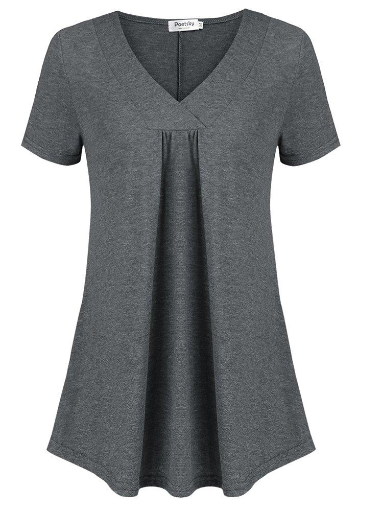 Poetsky Women Wear to Work Short Sleeve Tops Cross V Neck Front Pleated Tunic Dark Gray, L