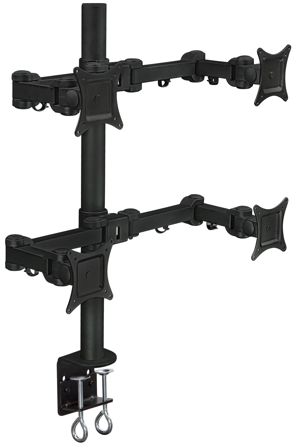 Mount-It! Quad Monitor Desk Mount for Desktop, 4 LCD Screens, Articulating Arm, Supports 20, 22, 23, 24, 25, 27 Inch, VESA 75x75 mm and 100x100 mm, 88 Lb Capacity, Clamp, Black (MI-754)